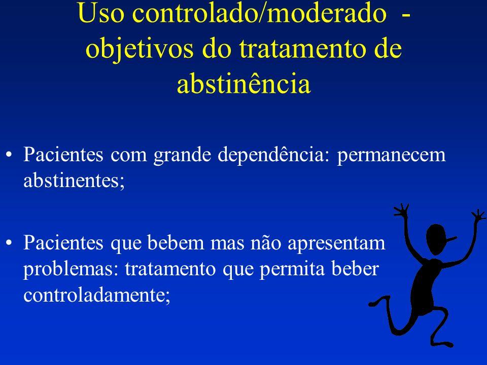 Uso controlado/moderado - objetivos do tratamento de abstinência Pacientes com grande dependência: permanecem abstinentes; Pacientes que bebem mas não