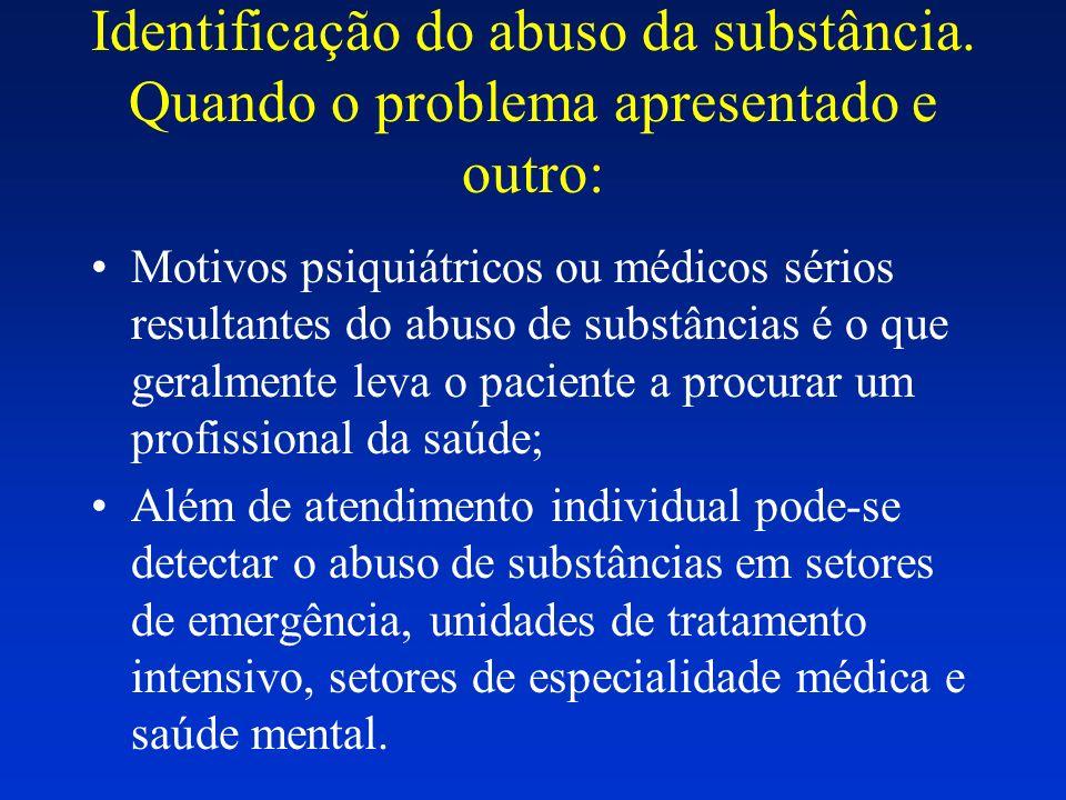 Identificação do abuso da substância. Quando o problema apresentado e outro: Motivos psiquiátricos ou médicos sérios resultantes do abuso de substânci