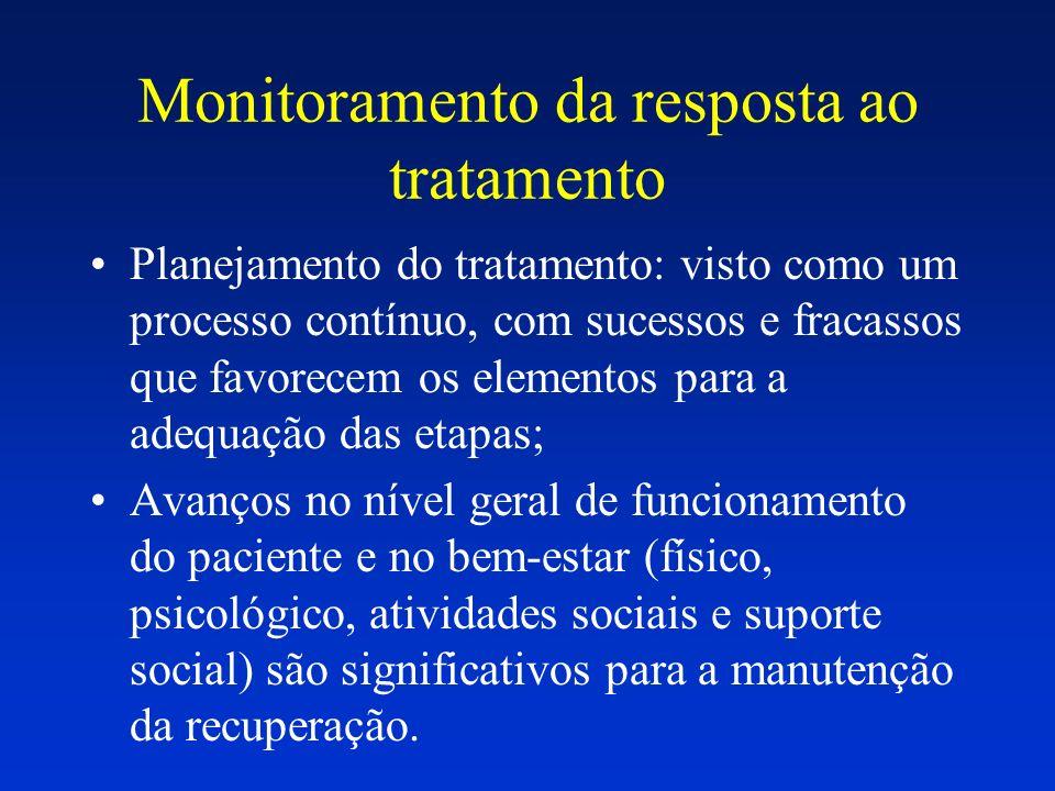 Monitoramento da resposta ao tratamento Planejamento do tratamento: visto como um processo contínuo, com sucessos e fracassos que favorecem os element
