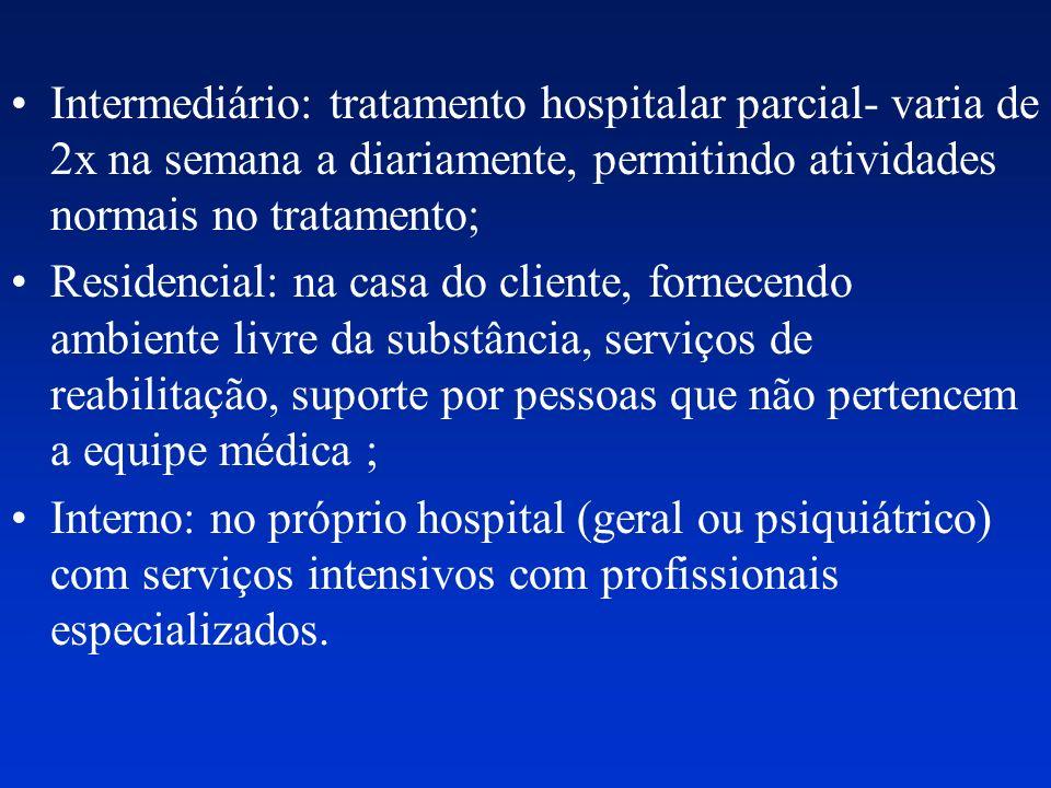 Intermediário: tratamento hospitalar parcial- varia de 2x na semana a diariamente, permitindo atividades normais no tratamento; Residencial: na casa d