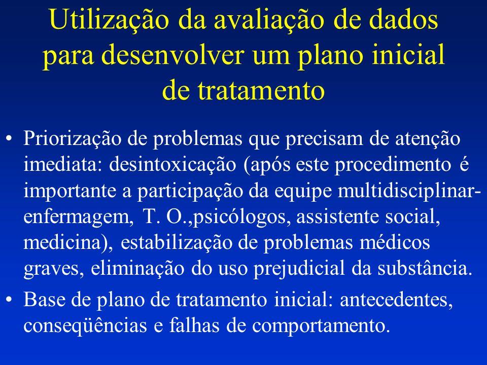 Utilização da avaliação de dados para desenvolver um plano inicial de tratamento Priorização de problemas que precisam de atenção imediata: desintoxic