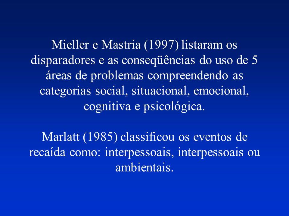 Mieller e Mastria (1997) listaram os disparadores e as conseqüências do uso de 5 áreas de problemas compreendendo as categorias social, situacional, e