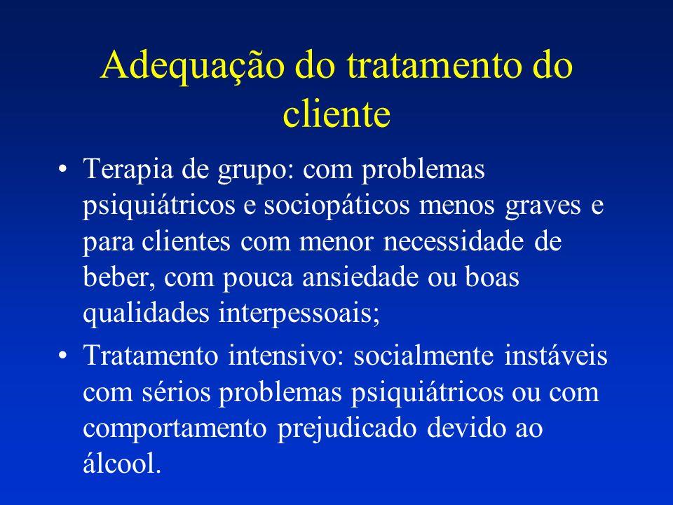 Adequação do tratamento do cliente Terapia de grupo: com problemas psiquiátricos e sociopáticos menos graves e para clientes com menor necessidade de