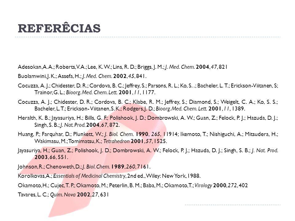 REFERÊCIAS Adesokan, A. A.; Roberts, V. A.; Lee, K. W.; Lins, R. D.; Briggs, J. M.; J. Med. Chem. 2004, 47, 821 Buolamwini, J. K.; Assefa, H.; J. Med.