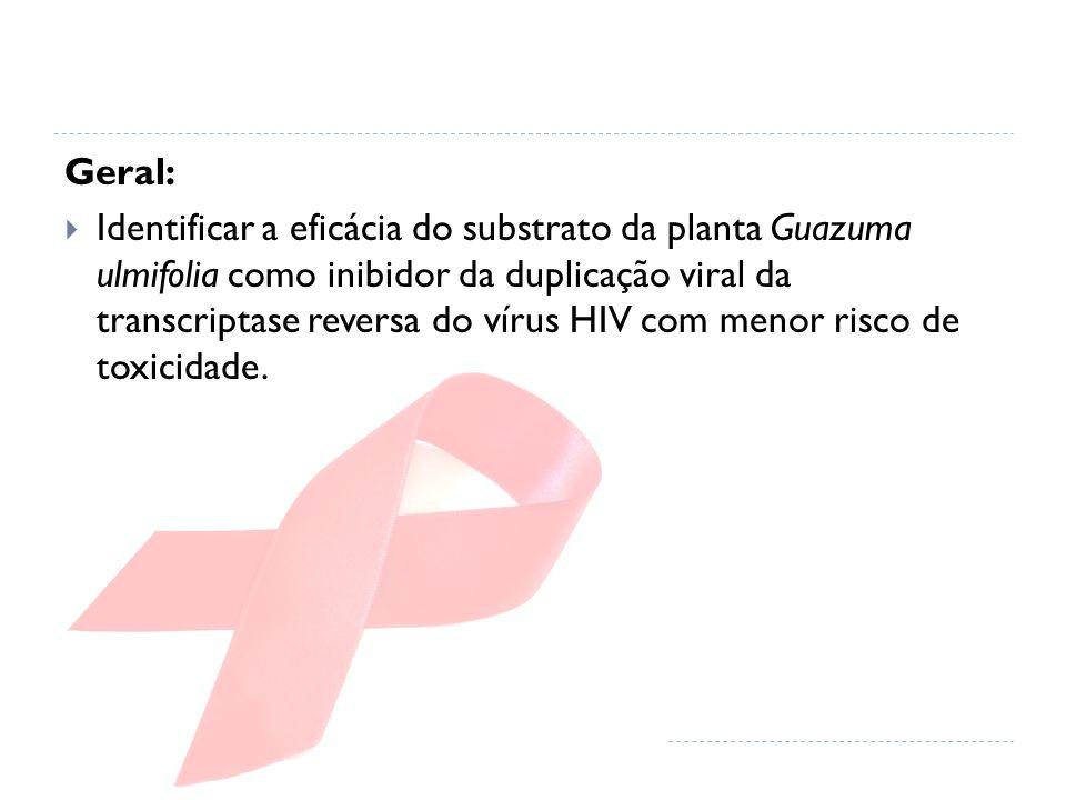 Geral: Identificar a eficácia do substrato da planta Guazuma ulmifolia como inibidor da duplicação viral da transcriptase reversa do vírus HIV com men