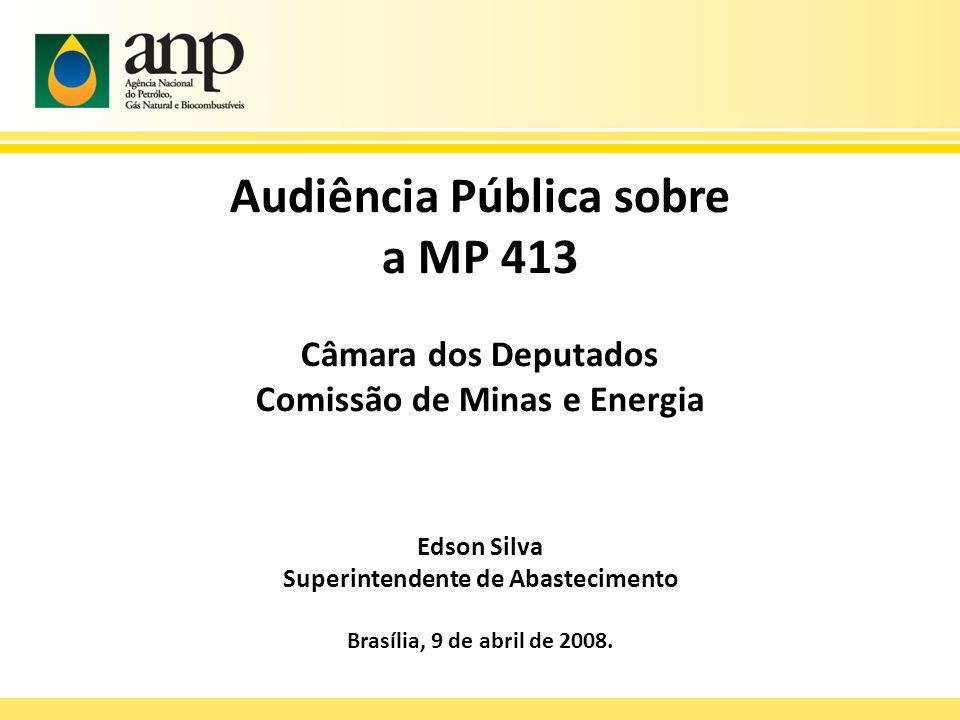 Audiência Pública sobre a MP 413 Câmara dos Deputados Comissão de Minas e Energia Edson Silva Superintendente de Abastecimento Brasília, 9 de abril de