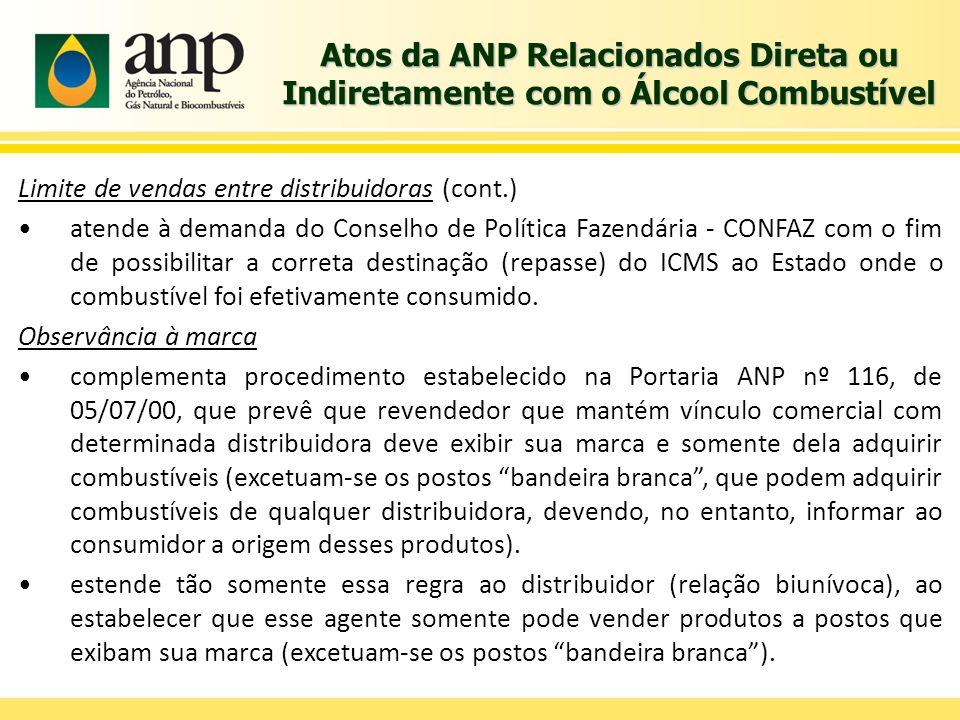 Atos da ANP Relacionados Direta ou Indiretamente com o Álcool Combustível Limite de vendas entre distribuidoras (cont.) atende à demanda do Conselho d