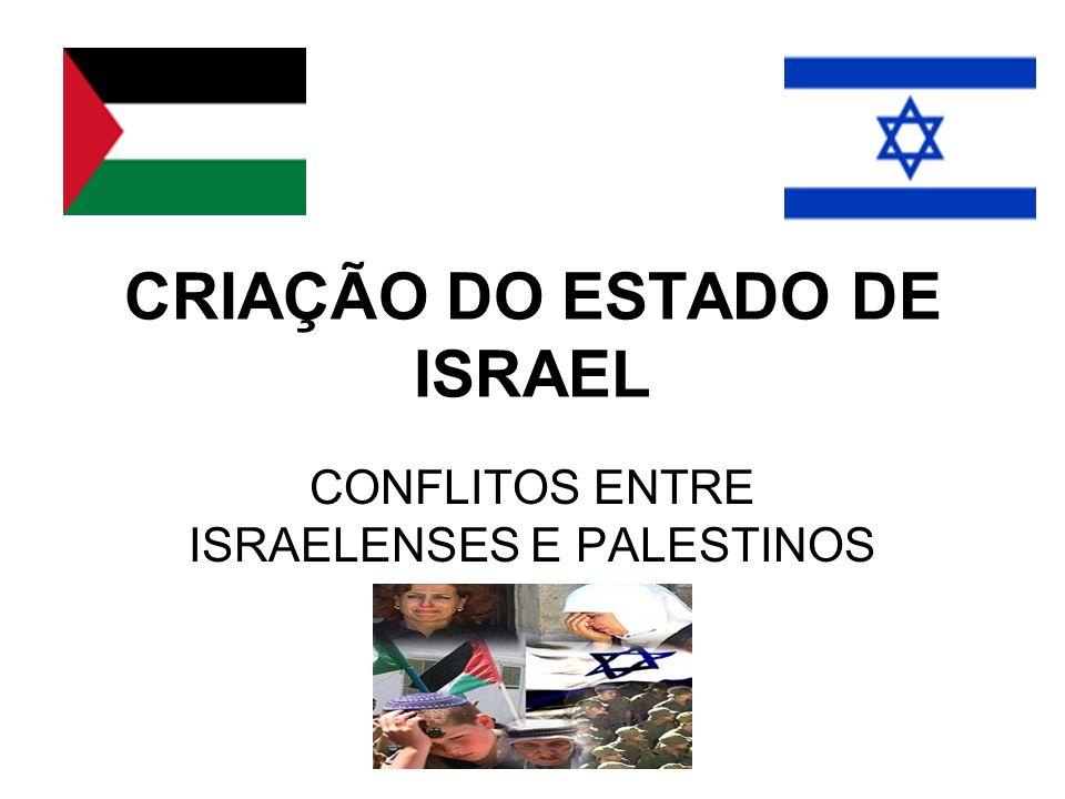 CRIAÇÃO DO ESTADO DE ISRAEL CONFLITOS ENTRE ISRAELENSES E PALESTINOS