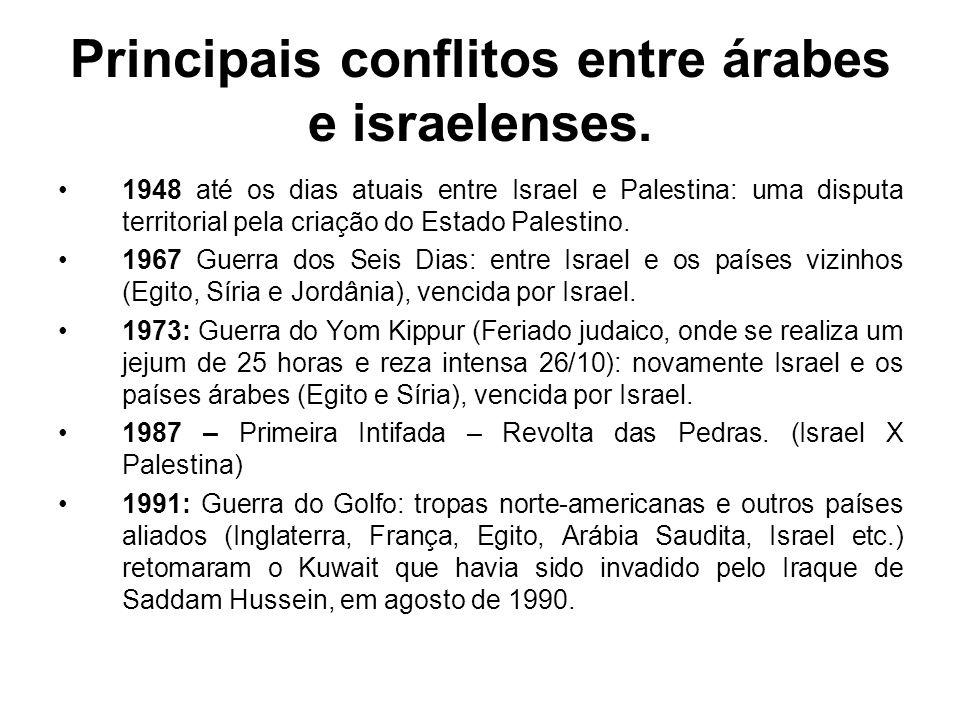 Principais conflitos entre árabes e israelenses. 1948 até os dias atuais entre Israel e Palestina: uma disputa territorial pela criação do Estado Pale