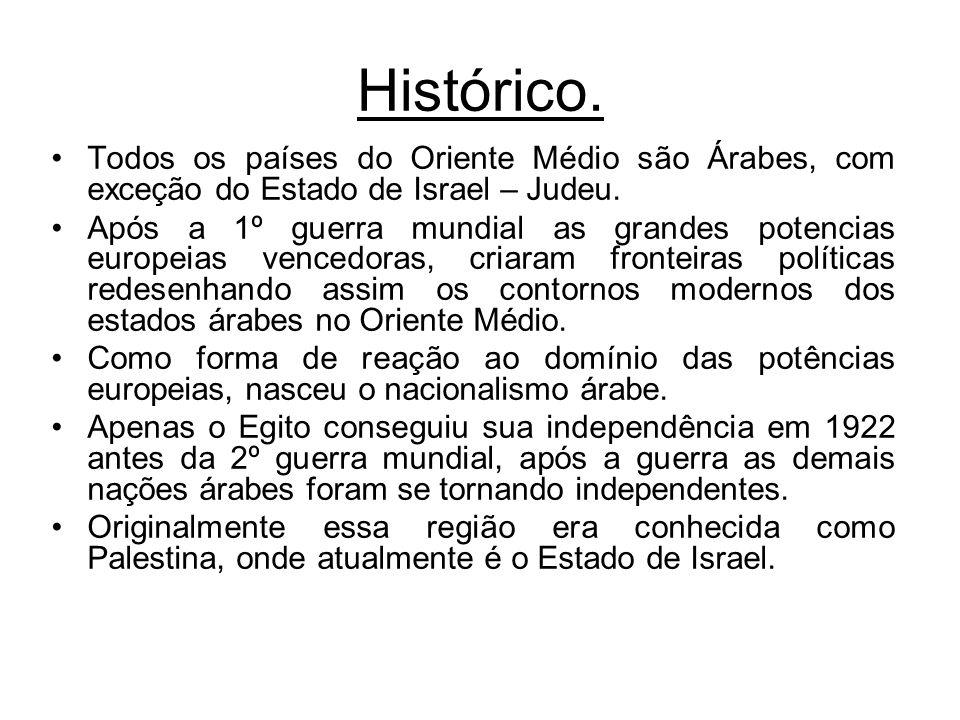 Histórico. Todos os países do Oriente Médio são Árabes, com exceção do Estado de Israel – Judeu. Após a 1º guerra mundial as grandes potencias europei