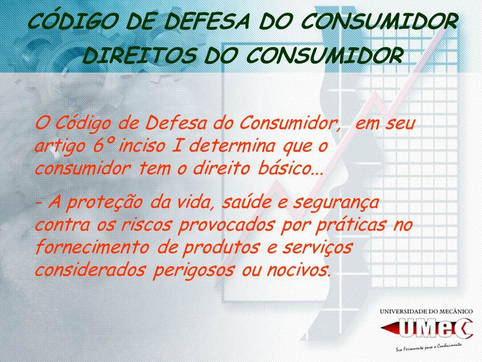 CÓDIGO DE DEFESA DO CONSUMIDOR DIREITOS DO CONSUMIDOR O Código de Defesa do Consumidor, em seu artigo 6º inciso I determina que o consumidor tem o dir