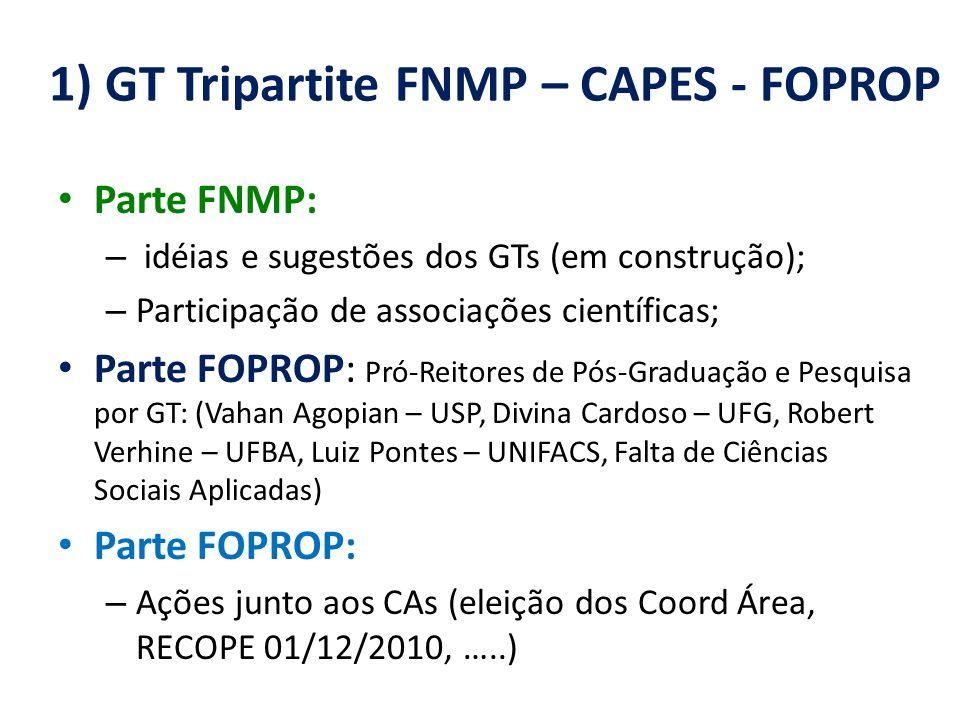 1) GT Tripartite FNMP – CAPES - FOPROP Parte FNMP: – idéias e sugestões dos GTs (em construção); – Participação de associações científicas; Parte FOPROP: Pró-Reitores de Pós-Graduação e Pesquisa por GT: (Vahan Agopian – USP, Divina Cardoso – UFG, Robert Verhine – UFBA, Luiz Pontes – UNIFACS, Falta de Ciências Sociais Aplicadas) Parte FOPROP: – Ações junto aos CAs (eleição dos Coord Área, RECOPE 01/12/2010, …..)