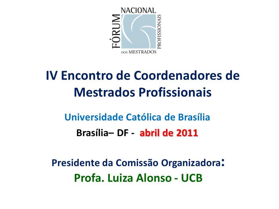 IV Encontro de Coordenadores de Mestrados Profissionais Universidade Católica de Brasília abril de 2011 Brasília– DF - abril de 2011 Presidente da Comissão Organizadora : Profa.