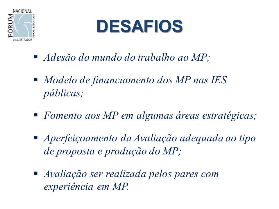 DESAFIOS Adesão do mundo do trabalho ao MP; Modelo de financiamento dos MP nas IES públicas; Fomento aos MP em algumas áreas estratégicas; Aperfeiçoamento da Avaliação adequada ao tipo de proposta e produção do MP; Avaliação ser realizada pelos pares com experiência em MP.