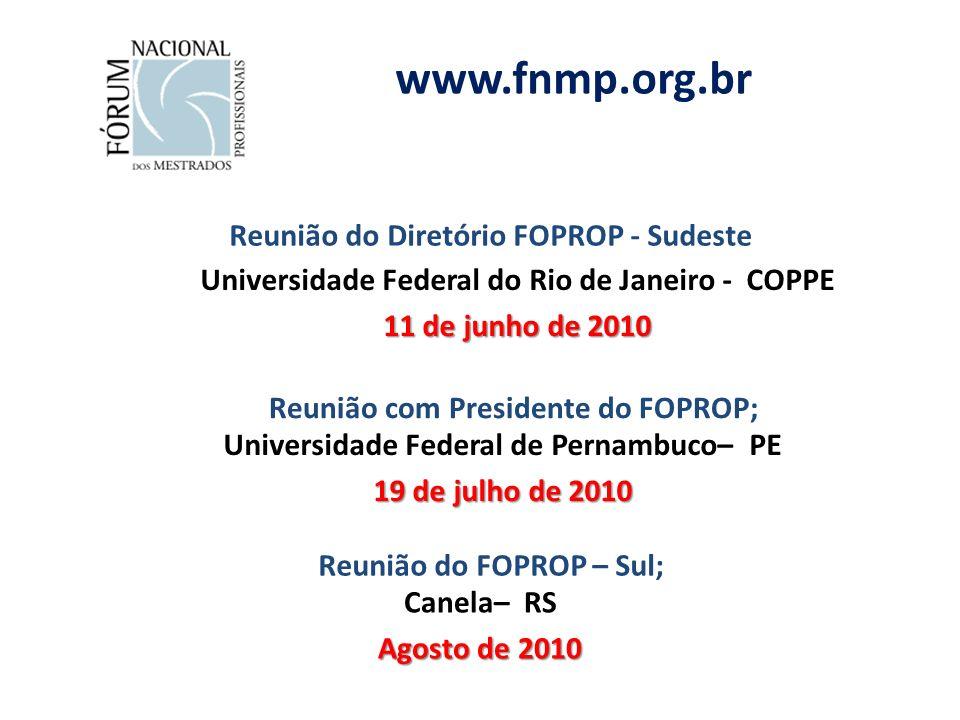 Reunião do Diretório FOPROP - Sudeste Universidade Federal do Rio de Janeiro - COPPE 11 de junho de 2010 www.fnmp.org.br Reunião do FOPROP – Sul; Canela– RS Agosto de 2010 Reunião com Presidente do FOPROP; Universidade Federal de Pernambuco– PE 19 de julho de 2010