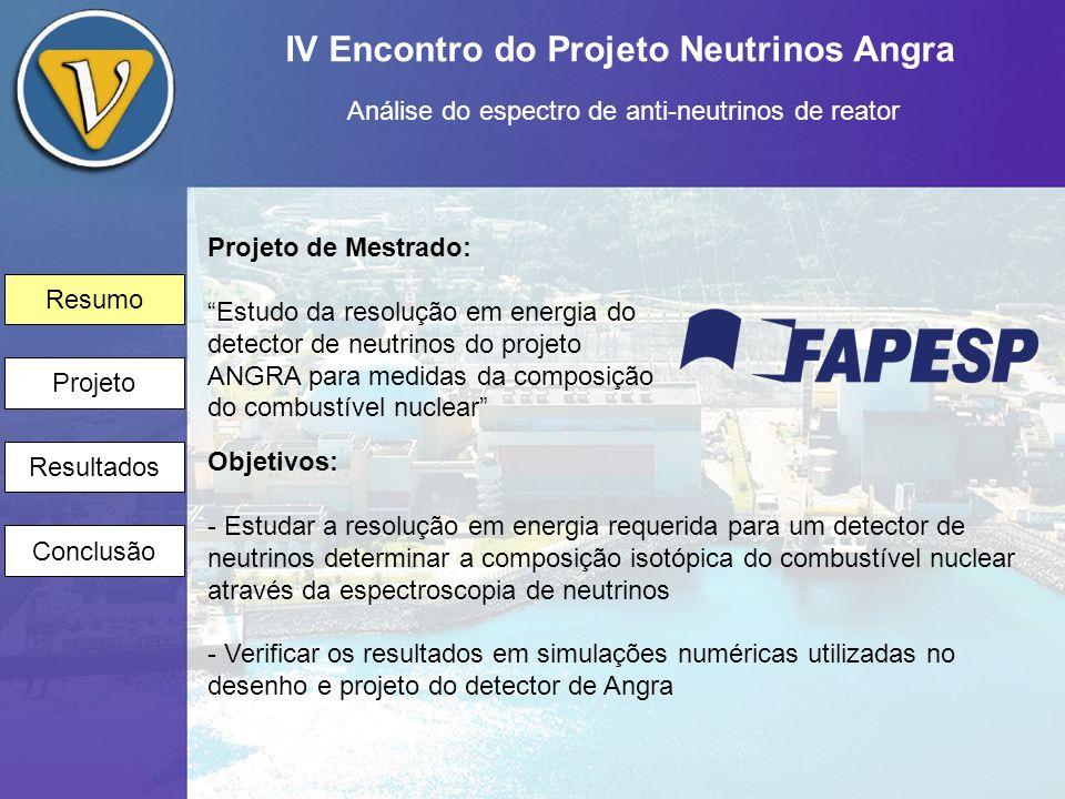 IV Encontro do Projeto Neutrinos Angra Análise do espectro de anti-neutrinos de reator Resumo Projeto Resultados Conclusão O que pretendemos medir