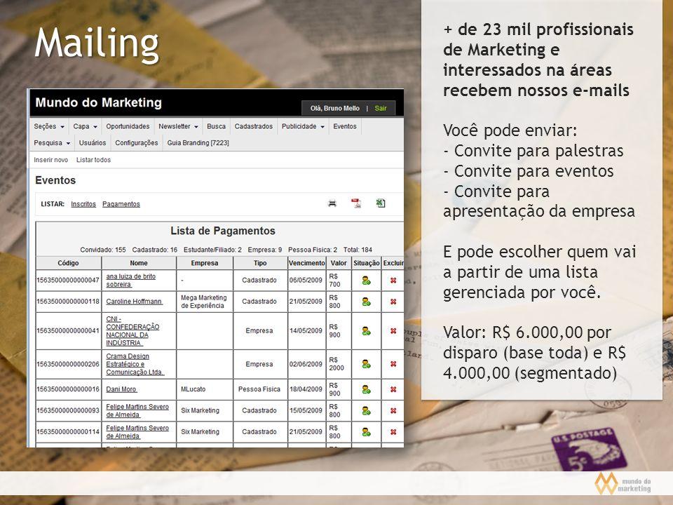 Mailing + de 23 mil profissionais de Marketing e interessados na áreas recebem nossos e-mails Você pode enviar: - Convite para palestras - Convite par