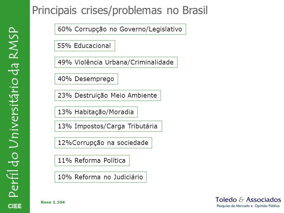 CIEE Perfil do Universitário da RMSP Principais crises/problemas no Brasil 60% Corrupção no Governo/Legislativo 55% Educacional 49% Violência Urbana/C