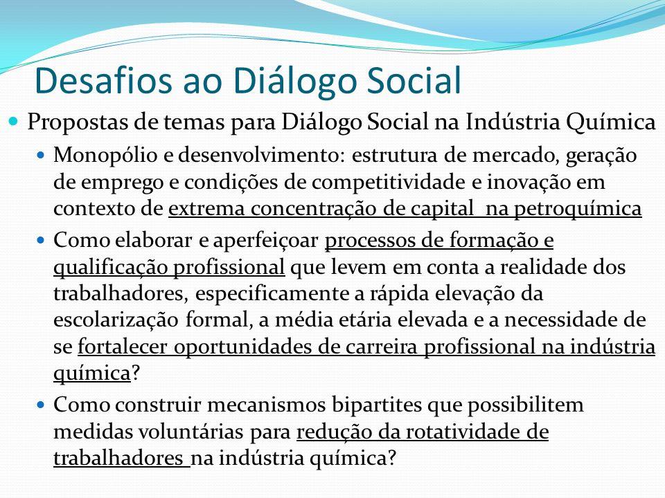Desafios ao Diálogo Social Propostas de temas para Diálogo Social na Indústria Química Monopólio e desenvolvimento: estrutura de mercado, geração de e