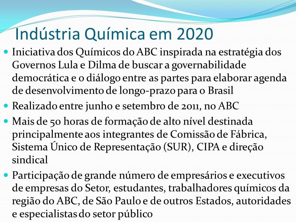 Indústria Química em 2020 Iniciativa dos Químicos do ABC inspirada na estratégia dos Governos Lula e Dilma de buscar a governabilidade democrática e o