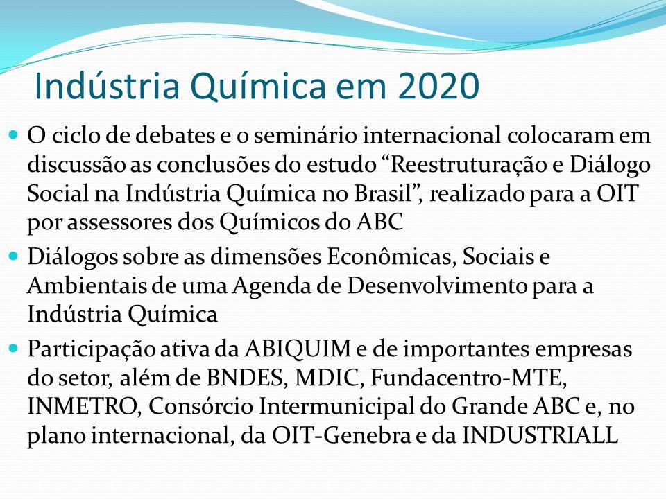 Indústria Química em 2020 O ciclo de debates e o seminário internacional colocaram em discussão as conclusões do estudo Reestruturação e Diálogo Socia