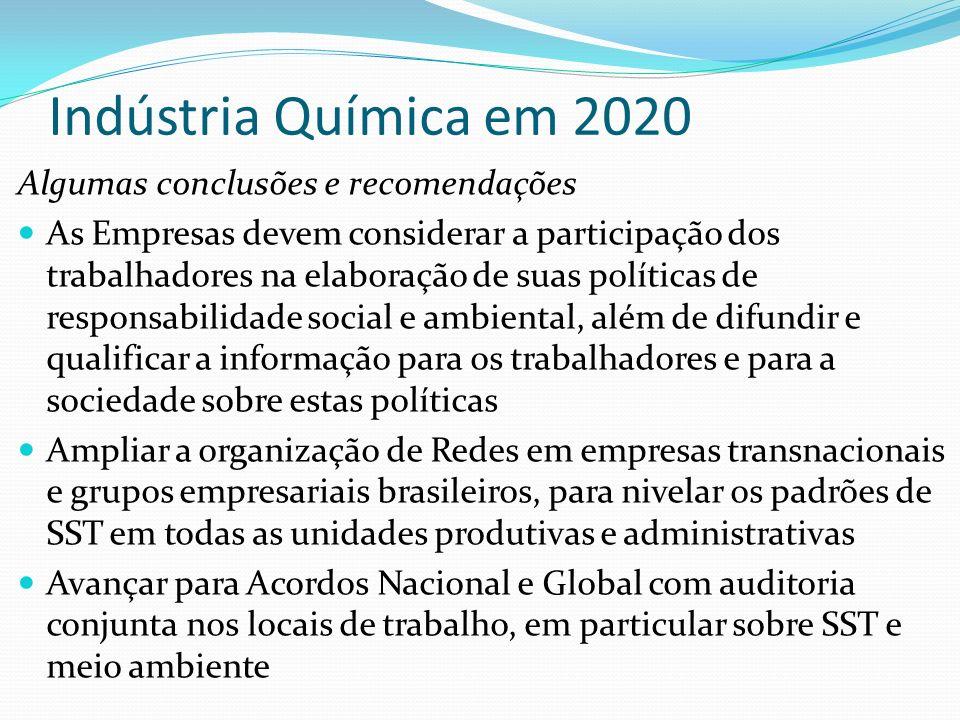 Indústria Química em 2020 Algumas conclusões e recomendações As Empresas devem considerar a participação dos trabalhadores na elaboração de suas polít