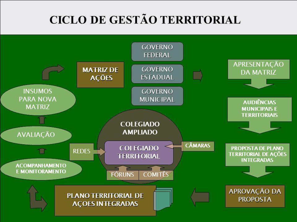 COLEGIADO AMPLIADO COLEGIADO TERRITORIA TERRITORIAL CÂMARAS REDES FÓRUNS MATRIZ DE AÇÕES AÇÕES APRESENTAÇÃO DA MATRIZ AUDIÊNCIAS MUNICIPAIS E TERRITORIAIS PROPOSTA DE PLANO TERRITORIAL DE AÇÕES INTEGRADAS APROVAÇÃO DA PROPOSTA PLANO TERRITORIAL DE AÇOES INTEGRADAS ACOMPANHAMENTO E MONITORAMENTO AVALIAÇÃO INSUMOS PARA NOVA MATRIZ COMITÊS GOVERNOFEDERAL GOVERNOESTADUAL GOVERNOMUNICIPAL CICLO DE GESTÃO TERRITORIAL