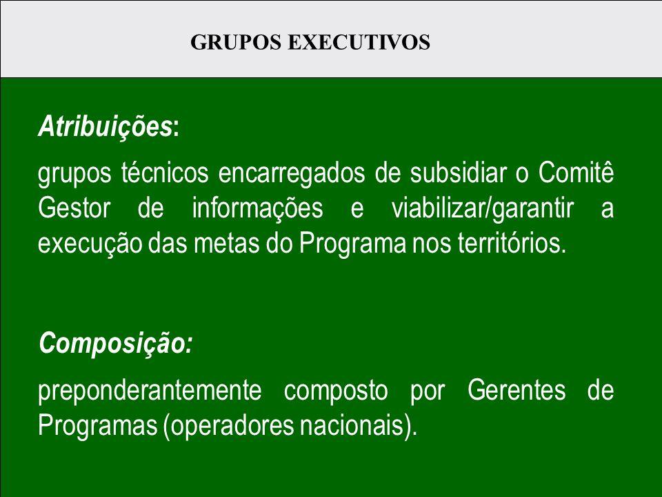 Atribuições : grupos técnicos encarregados de subsidiar o Comitê Gestor de informações e viabilizar/garantir a execução das metas do Programa nos territórios.