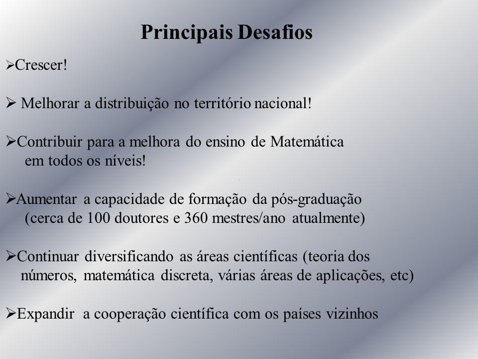 Ø Crescer! Ø Melhorar a distribuição no território nacional! Ø Contribuir para a melhora do ensino de Matemática em todos os níveis! Ø Aumentar a capa
