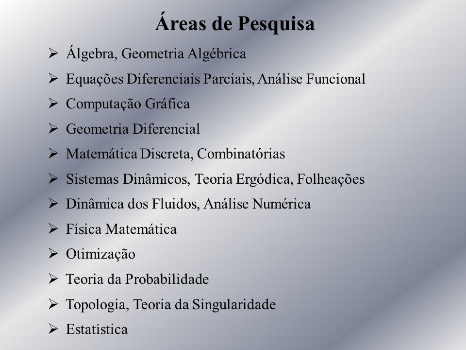 Áreas de Pesquisa Ø Álgebra, Geometria Algébrica Ø Equações Diferenciais Parciais, Análise Funcional Ø Computação Gráfica Ø Geometria Diferencial Ø Ma