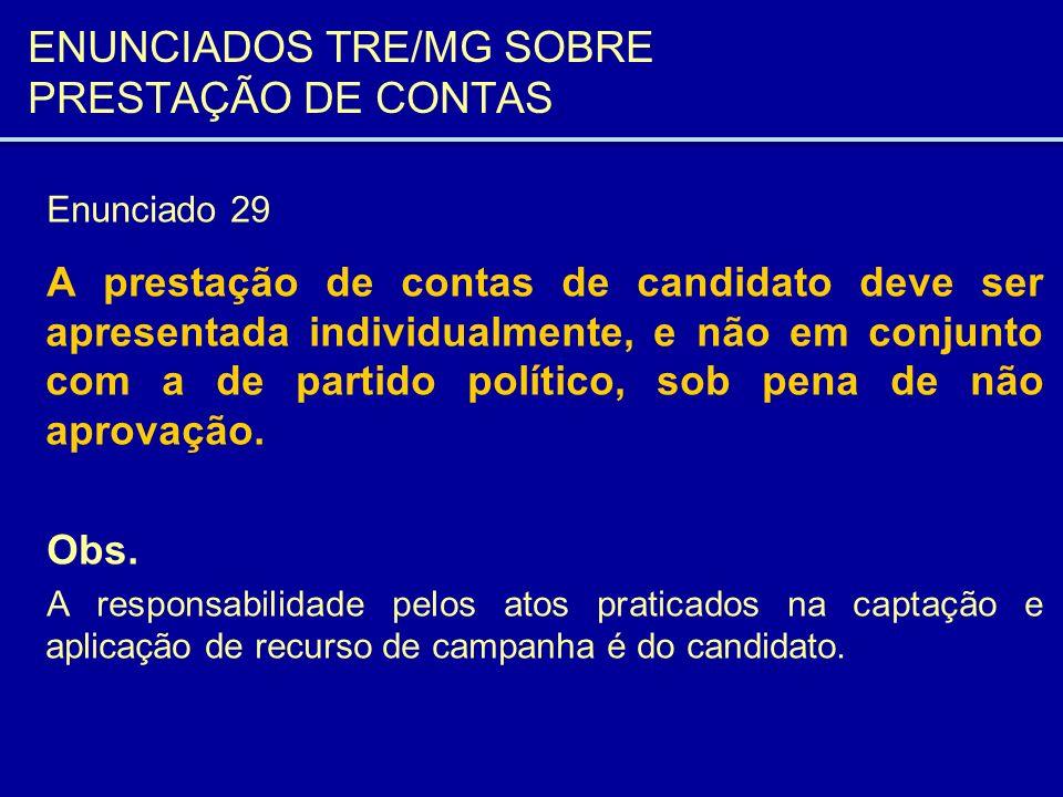ENUNCIADOS TRE/MG SOBRE PRESTAÇÃO DE CONTAS Enunciado 29 A prestação de contas de candidato deve ser apresentada individualmente, e não em conjunto co