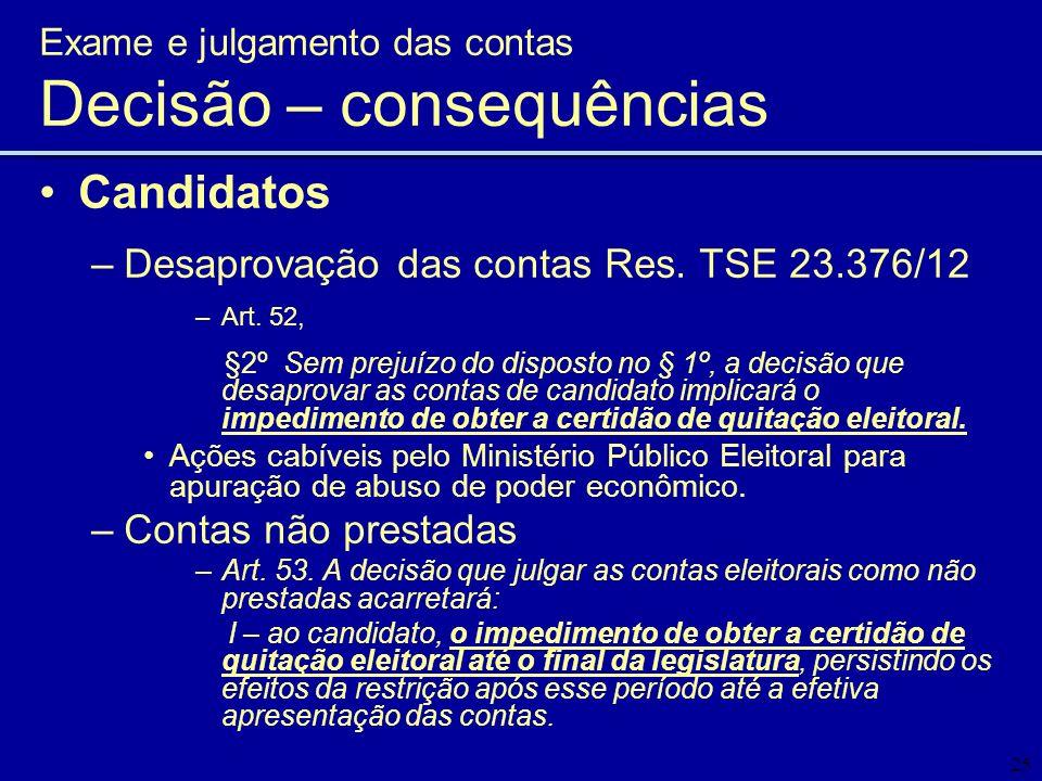 25 Candidatos –Desaprovação das contas Res. TSE 23.376/12 –Art. 52, §2º Sem prejuízo do disposto no § 1º, a decisão que desaprovar as contas de candid