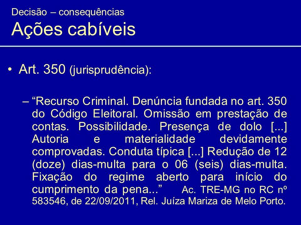 Art. 350 (jurisprudência): –Recurso Criminal. Denúncia fundada no art. 350 do Código Eleitoral. Omissão em prestação de contas. Possibilidade. Presenç