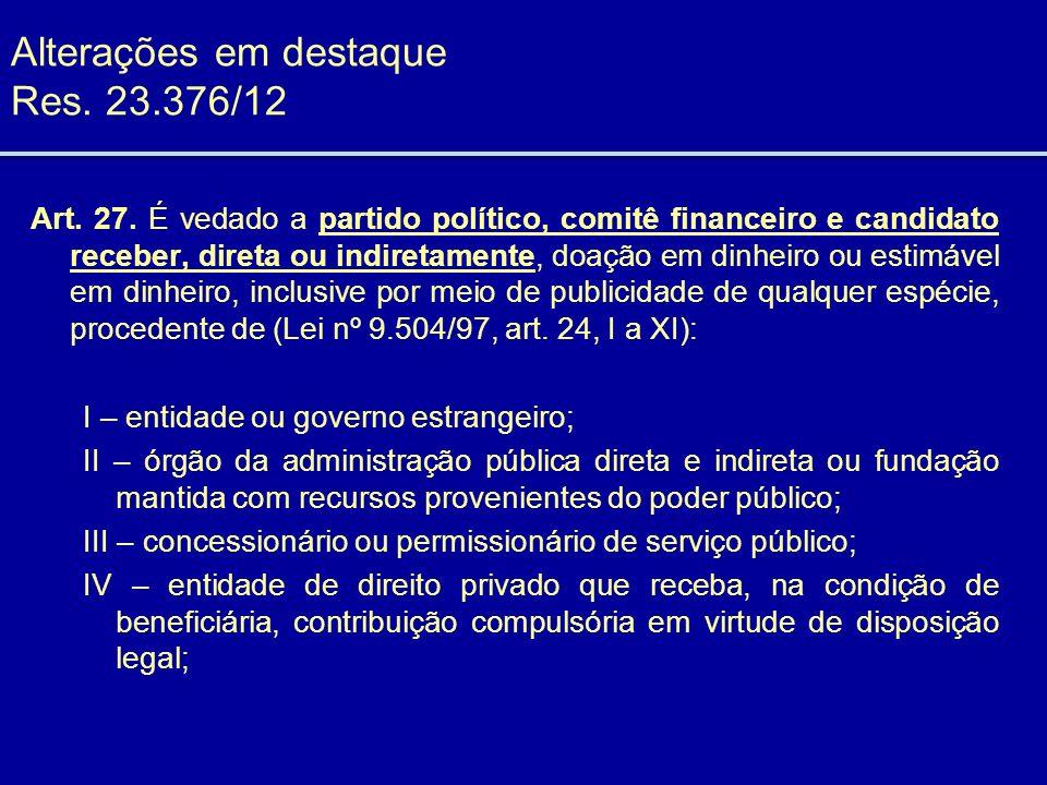 Alterações em destaque Res. 23.376/12 Art. 27. É vedado a partido político, comitê financeiro e candidato receber, direta ou indiretamente, doação em