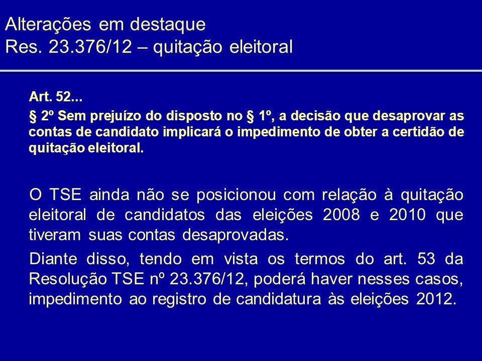 Alterações em destaque Res. 23.376/12 – quitação eleitoral Art. 52... § 2º Sem prejuízo do disposto no § 1º, a decisão que desaprovar as contas de can