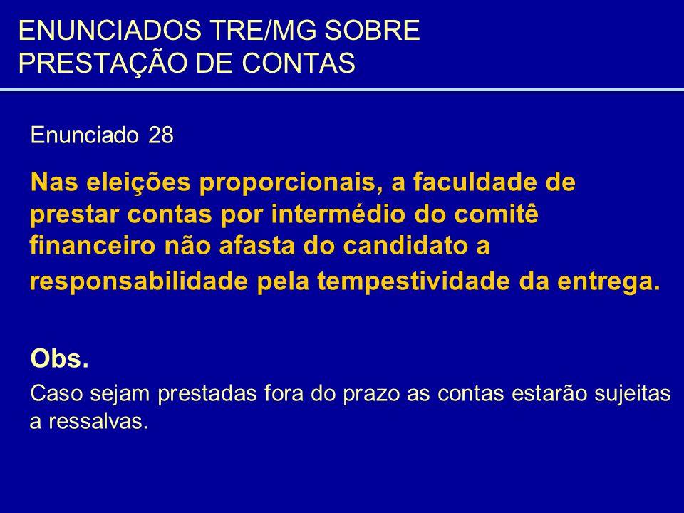 ENUNCIADOS TRE/MG SOBRE PRESTAÇÃO DE CONTAS Enunciado 29 A prestação de contas de candidato deve ser apresentada individualmente, e não em conjunto com a de partido político, sob pena de não aprovação.