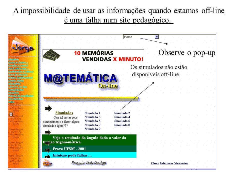 A impossibilidade de usar as informações quando estamos off-line é uma falha num site pedagógico. Os simulados não estão disponíveis off-line Observe