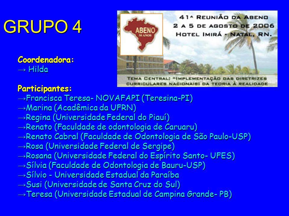 GRUPO 4 Coordenadora: Hilda HildaParticipantes: Francisca Teresa- NOVAFAPI (Teresina-PI) Francisca Teresa- NOVAFAPI (Teresina-PI) Marina (Acadêmica da
