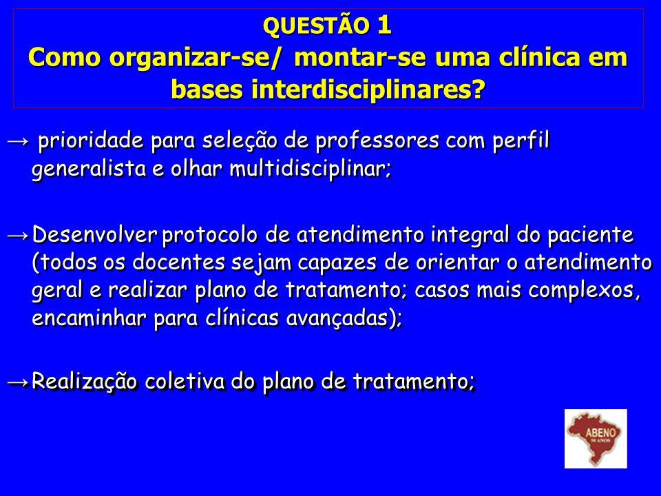 QUESTÃO 1 Como organizar-se/ montar-se uma clínica em bases interdisciplinares? prioridade para seleção de professores com perfil generalista e olhar