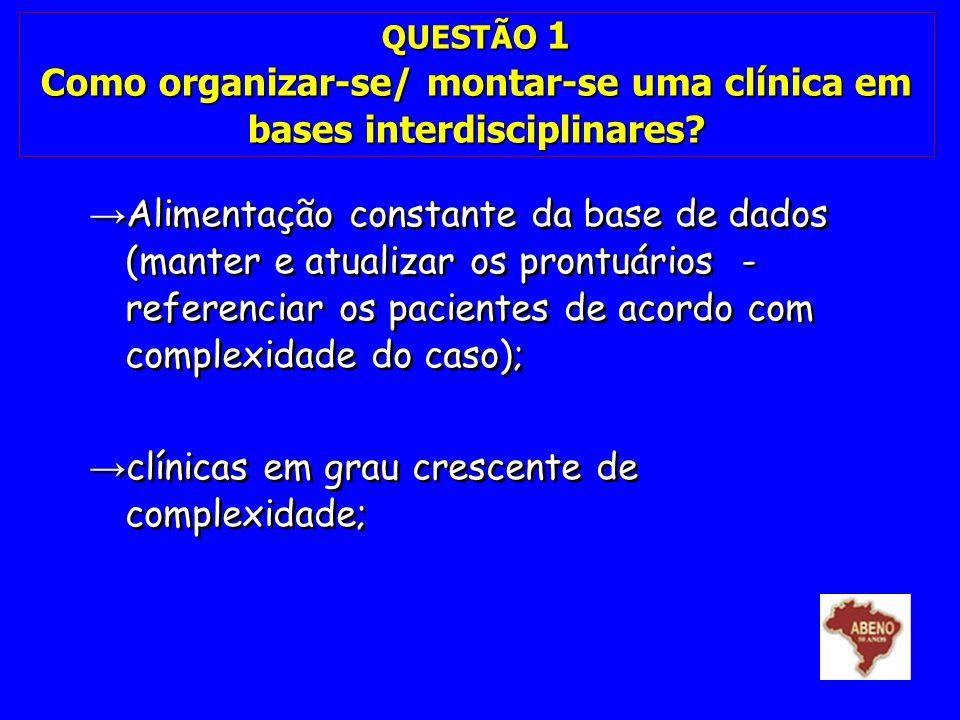 QUESTÃO 1 Como organizar-se/ montar-se uma clínica em bases interdisciplinares? Alimentação constante da base de dados (manter e atualizar os prontuár