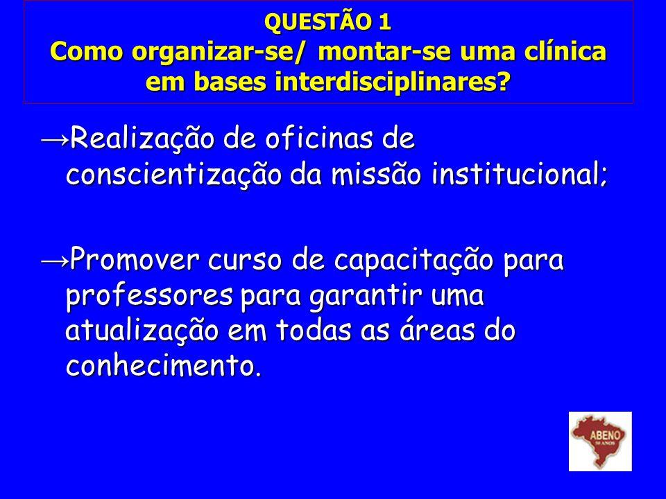 QUESTÃO 1 Como organizar-se/ montar-se uma clínica em bases interdisciplinares? Realização de oficinas de conscientização da missão institucional; Rea