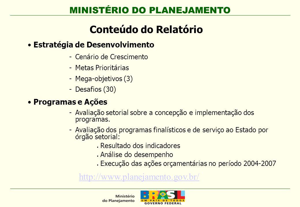 MINISTÉRIO DO PLANEJAMENTO Plano Plurianual 2004-2007 - Estrutura 3 Megaobjetivos 30 Desafios 351 Programas de Governo 5.277 Ações, sendo: -2.537 Atividades -1.750 Projetos -703 Operações Especiais -287 Não-orçamentárias