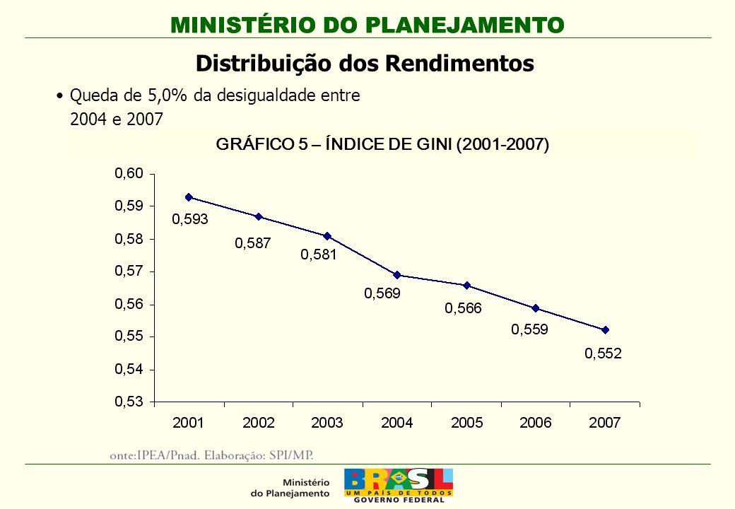 MINISTÉRIO DO PLANEJAMENTO Distribuição dos Rendimentos Queda de 5,0% da desigualdade entre 2004 e 2007 GRÁFICO 5 – ÍNDICE DE GINI (2001-2007)