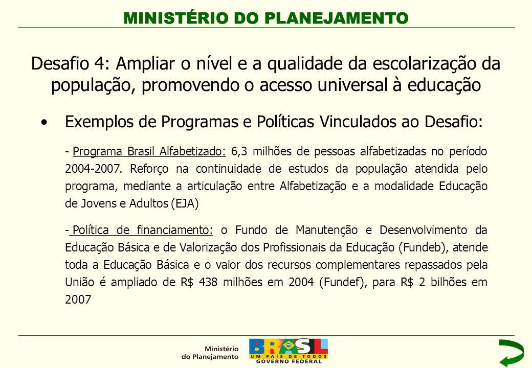 MINISTÉRIO DO PLANEJAMENTO Exemplos de Programas e Políticas Vinculados ao Desafio: - Programa Brasil Alfabetizado: 6,3 milhões de pessoas alfabetizad