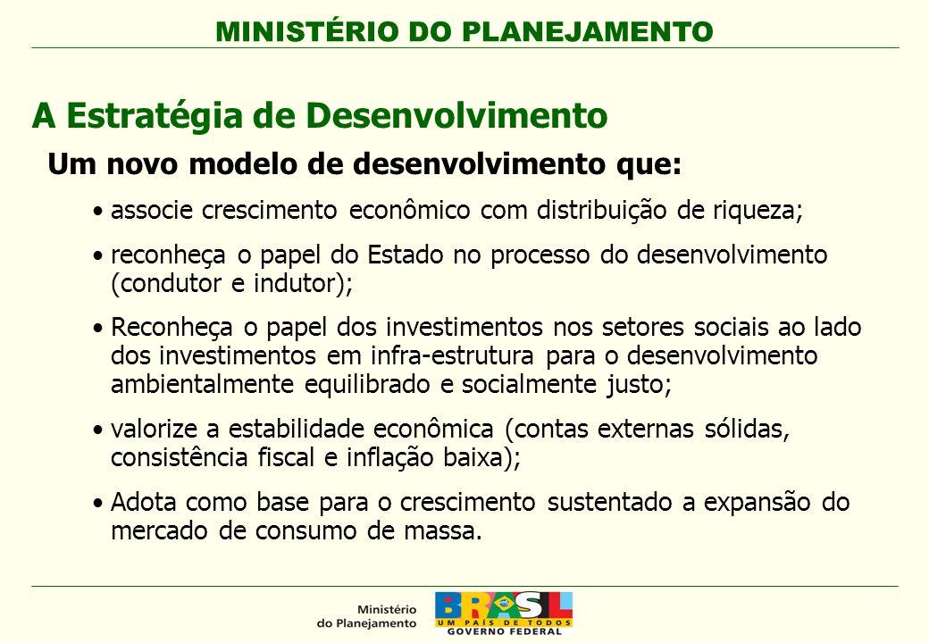 MINISTÉRIO DO PLANEJAMENTO A Estratégia de Desenvolvimento Um novo modelo de desenvolvimento que: associe crescimento econômico com distribuição de ri