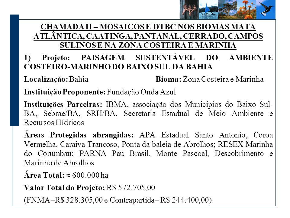 CHAMADA II – MOSAICOS E DTBC NOS BIOMAS MATA ATLÂNTICA, CAATINGA, PANTANAL, CERRADO, CAMPOS SULINOS E NA ZONA COSTEIRA E MARINHA 1) Projeto: PAISAGEM