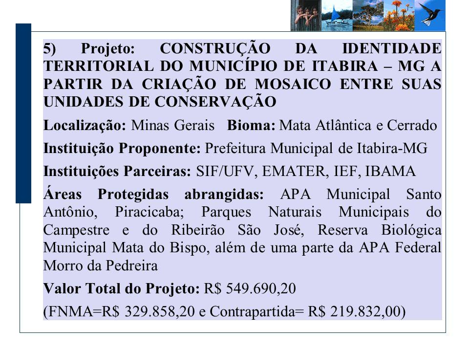 5) Projeto: CONSTRUÇÃO DA IDENTIDADE TERRITORIAL DO MUNICÍPIO DE ITABIRA – MG A PARTIR DA CRIAÇÃO DE MOSAICO ENTRE SUAS UNIDADES DE CONSERVAÇÃO Locali