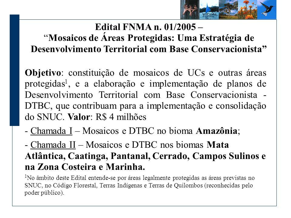 Edital FNMA n. 01/2005 – Mosaicos de Áreas Protegidas: Uma Estratégia de Desenvolvimento Territorial com Base Conservacionista Objetivo: constituição