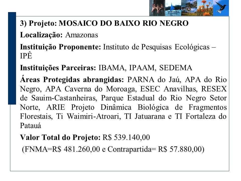 3) Projeto: MOSAICO DO BAIXO RIO NEGRO Localização: Amazonas Instituição Proponente: Instituto de Pesquisas Ecológicas – IPÊ Instituições Parceiras: IBAMA, IPAAM, SEDEMA Áreas Protegidas abrangidas: PARNA do Jaú, APA do Rio Negro, APA Caverna do Moroaga, ESEC Anavilhas, RESEX de Sauim-Castanheiras, Parque Estadual do Rio Negro Setor Norte, ARIE Projeto Dinâmica Biológica de Fragmentos Florestais, Ti Waimiri-Atroari, TI Jatuarana e TI Fortaleza do Patauá Valor Total do Projeto: R$ 539.140,00 (FNMA=R$ 481.260,00 e Contrapartida= R$ 57.880,00)