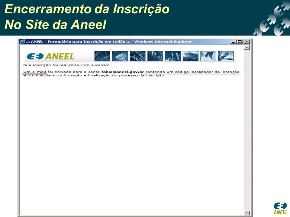 Encerramento da Inscrição No Site da Aneel